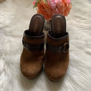 Ralph Lauren cognac suede leather mules size 7 1/2